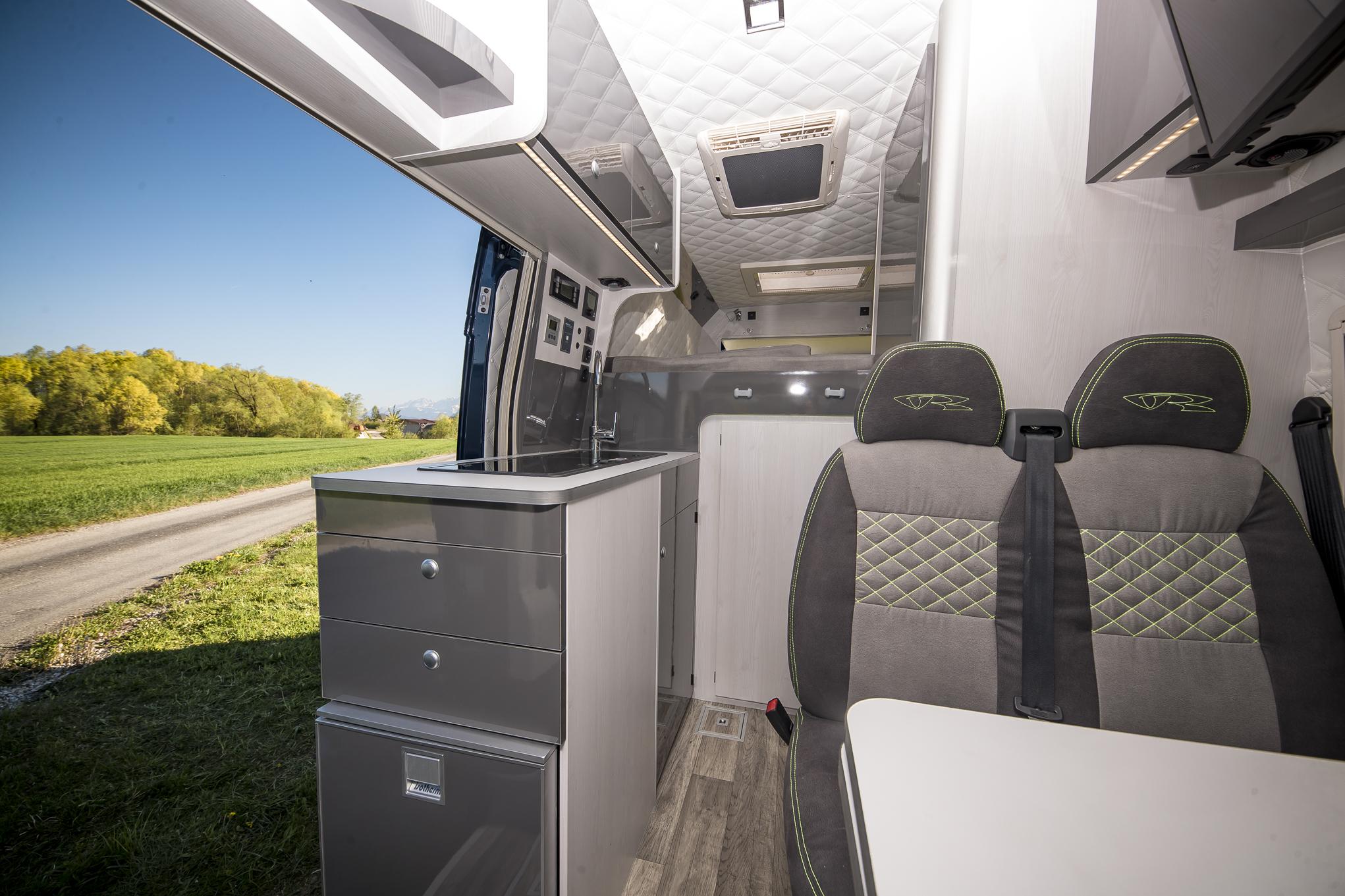 vrm vr doppelsitz 4 sitzer motorhomes interior luxus camper grey green limited edition seits s7 fenster s4 dometic